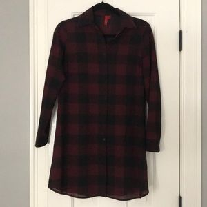 Saks Red Label Buffalo Check Tunic Shirt Dress